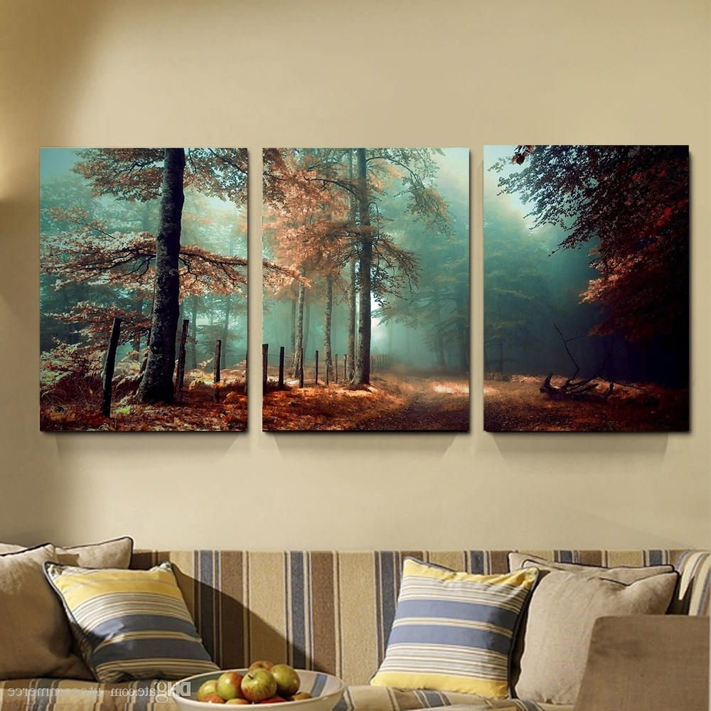 Canvas Landscape Wall Art With Regard To Trendy 2018 Modern 3 Panels Fog Forest Mystic Road Trees Landscape Giclee (View 4 of 15)