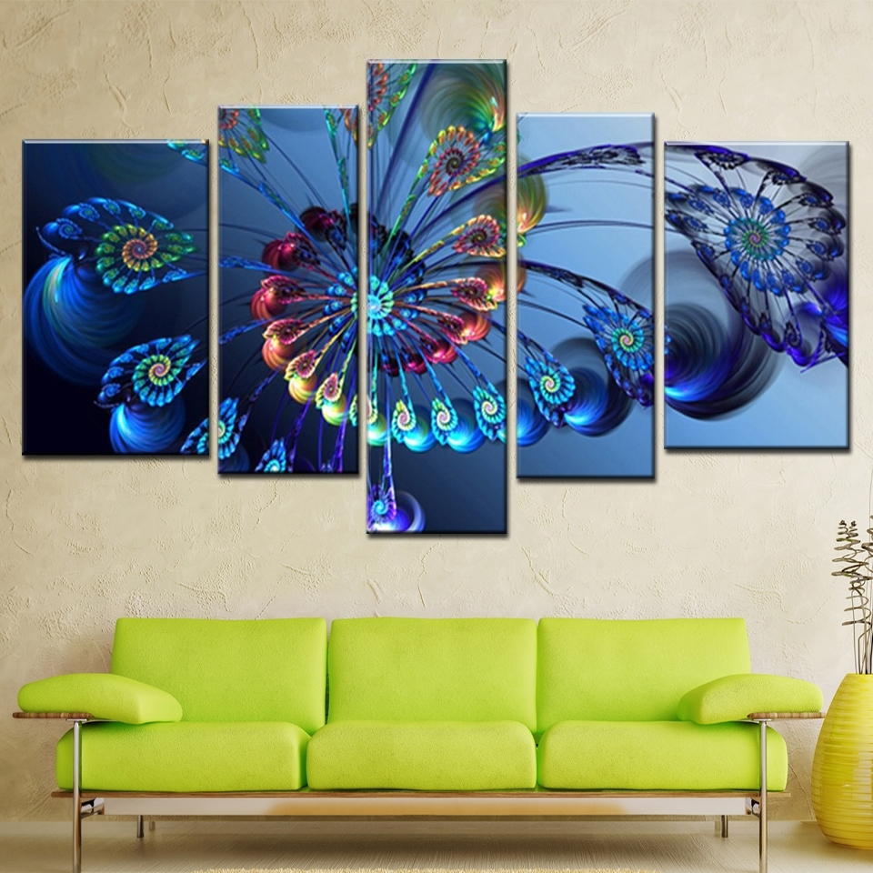 Canvas Landscape Wall Art Within Most Recent Modern Oil Painting Canvas Print Landscape Abstract Art Blue (View 7 of 15)