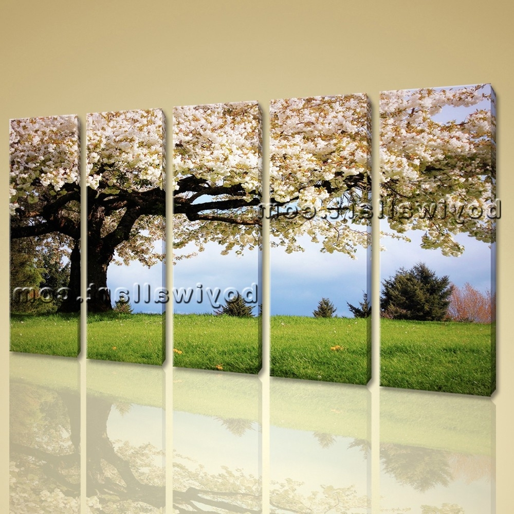 Canvas Landscape Wall Art Within Preferred Canvas Print Landscape Cherry Blossom Tree Gallery Wrapped Wall (View 8 of 15)