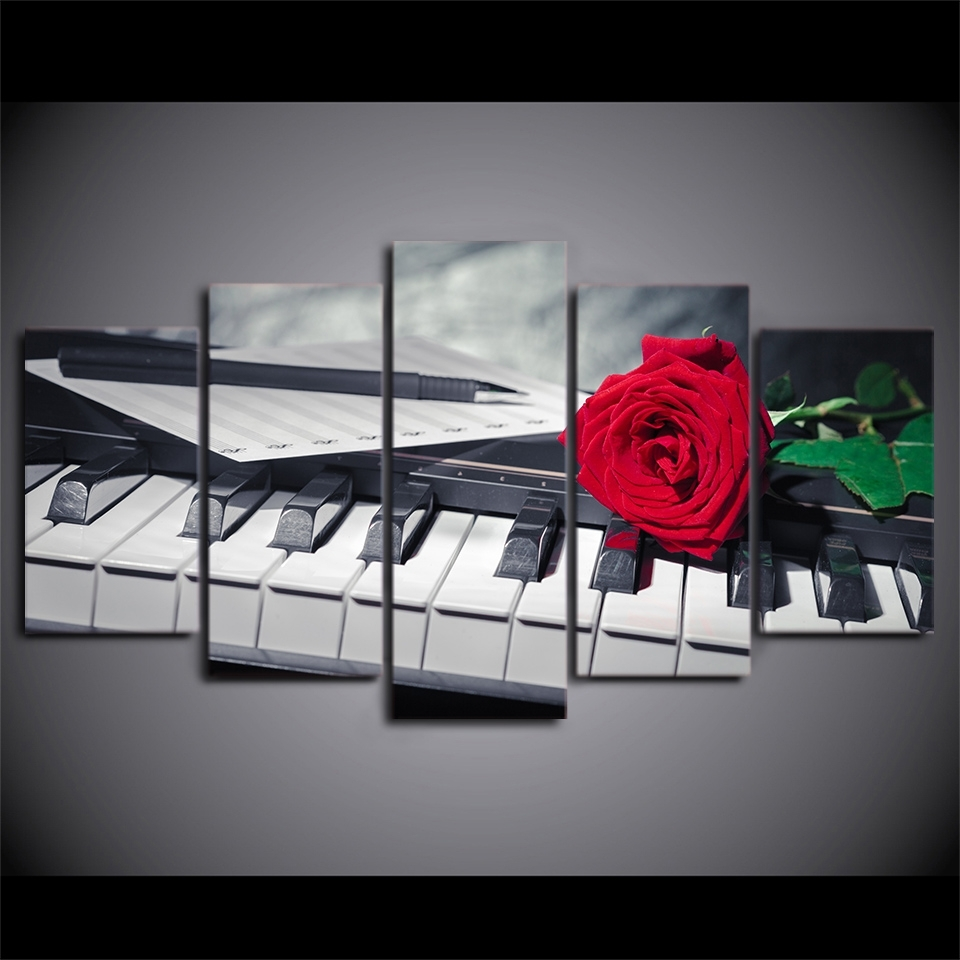 Canvas Painting Wall Art Abstract Decorative Pictures 5 Panel Intended For Most Recent Abstract Piano Wall Art (Gallery 4 of 15)