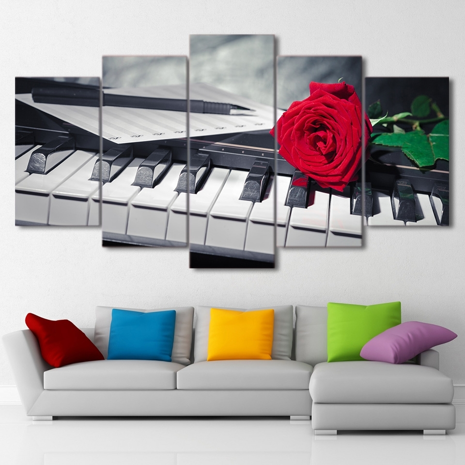 Canvas Painting Wall Art Abstract Decorative Pictures 5 Panel Regarding Well Known Abstract Piano Wall Art (Gallery 5 of 15)