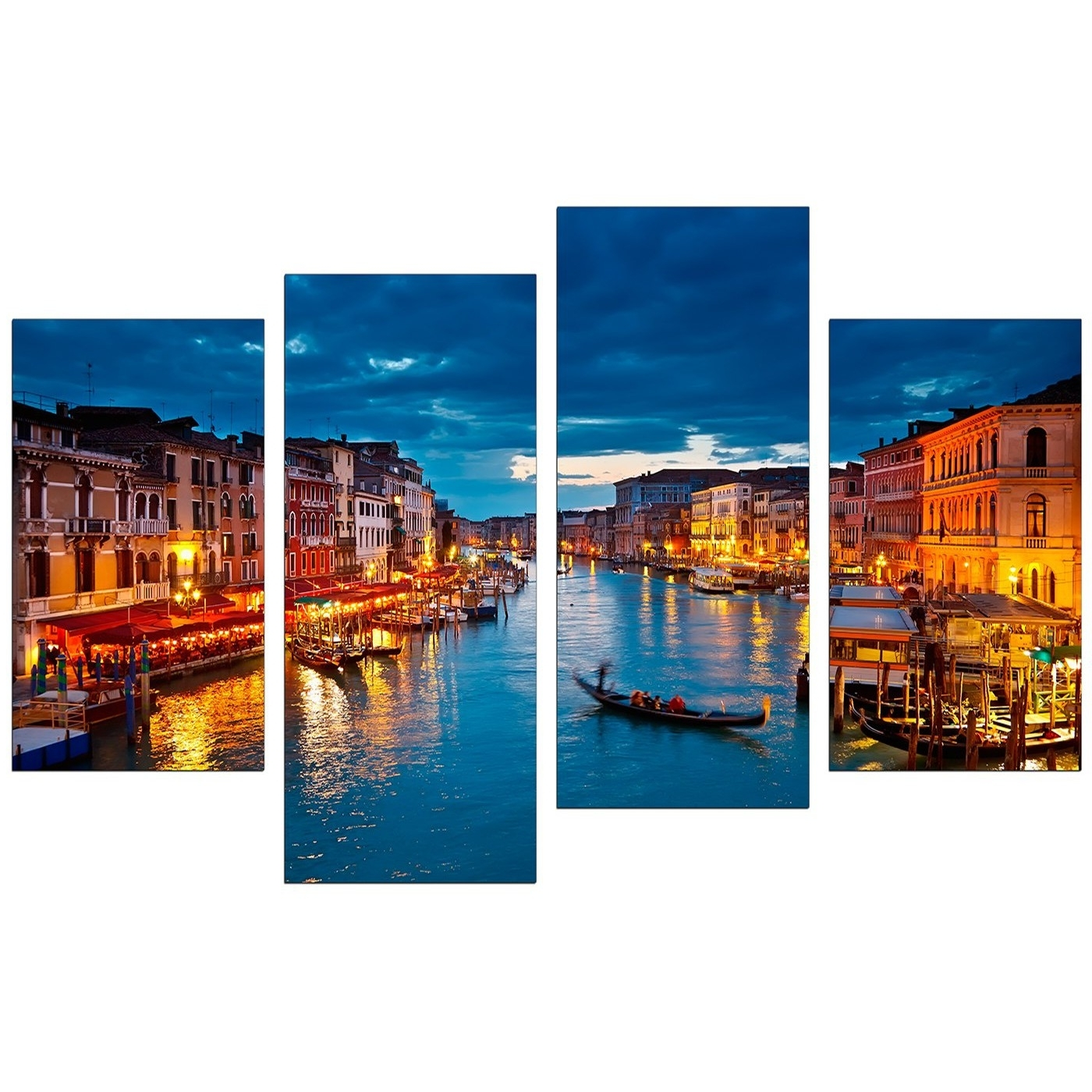 Canvas Pictures Of Venice Italy For Your Living Room – 4 Panel In Widely Used Italian Scenery Wall Art (View 1 of 15)