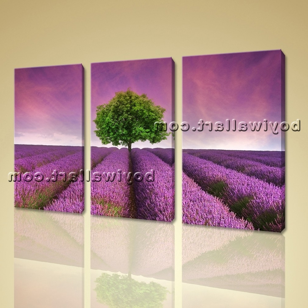 Canvas Print Contemporary Wall Art Sunset Purple Landscape With Regard To Most Up To Date Purple Wall Art (View 2 of 15)