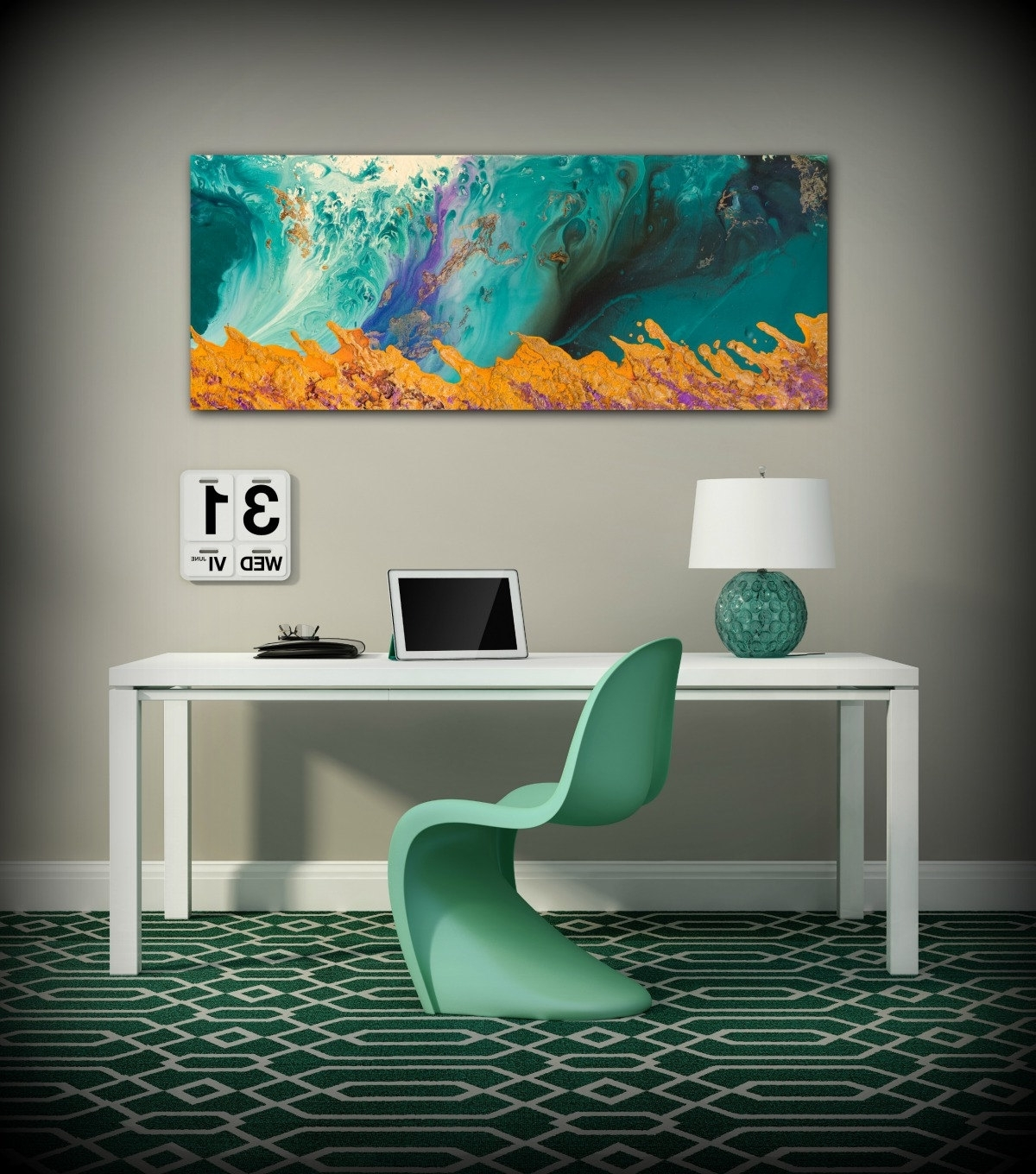 Canvas Print Wall Decor Large Abstract Wall Art Teal And Orange Intended For 2017 Oversized Abstract Wall Art (View 4 of 15)