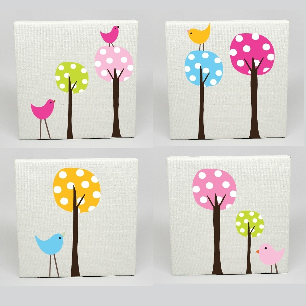 Canvas Prints For Baby Nursery Within Well Liked Kids Canvas Art Set Of 4 Polka Dot Tree Birds Nursery Childrens (View 4 of 15)