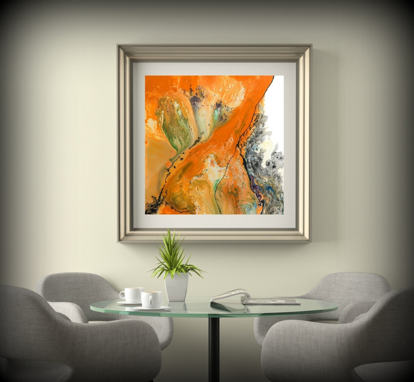 Canvas Wall Art For Dining Room Inside Most Recent Living Room Decor Square Wall Decor Orange Wall Art Dining Room (View 15 of 15)