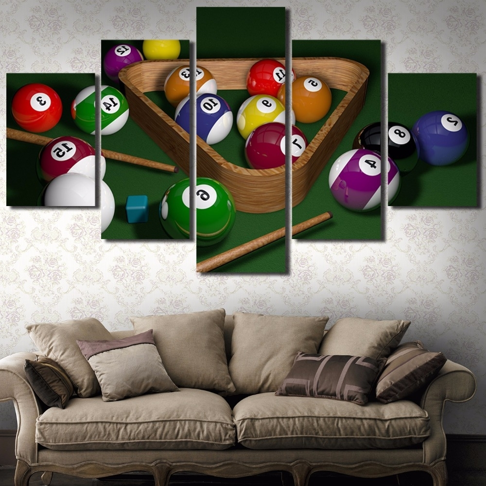 Canvas Wall Art Modular Picture Landscape Canvas Painting 5 Panel Regarding Recent Billiard Wall Art (View 5 of 15)