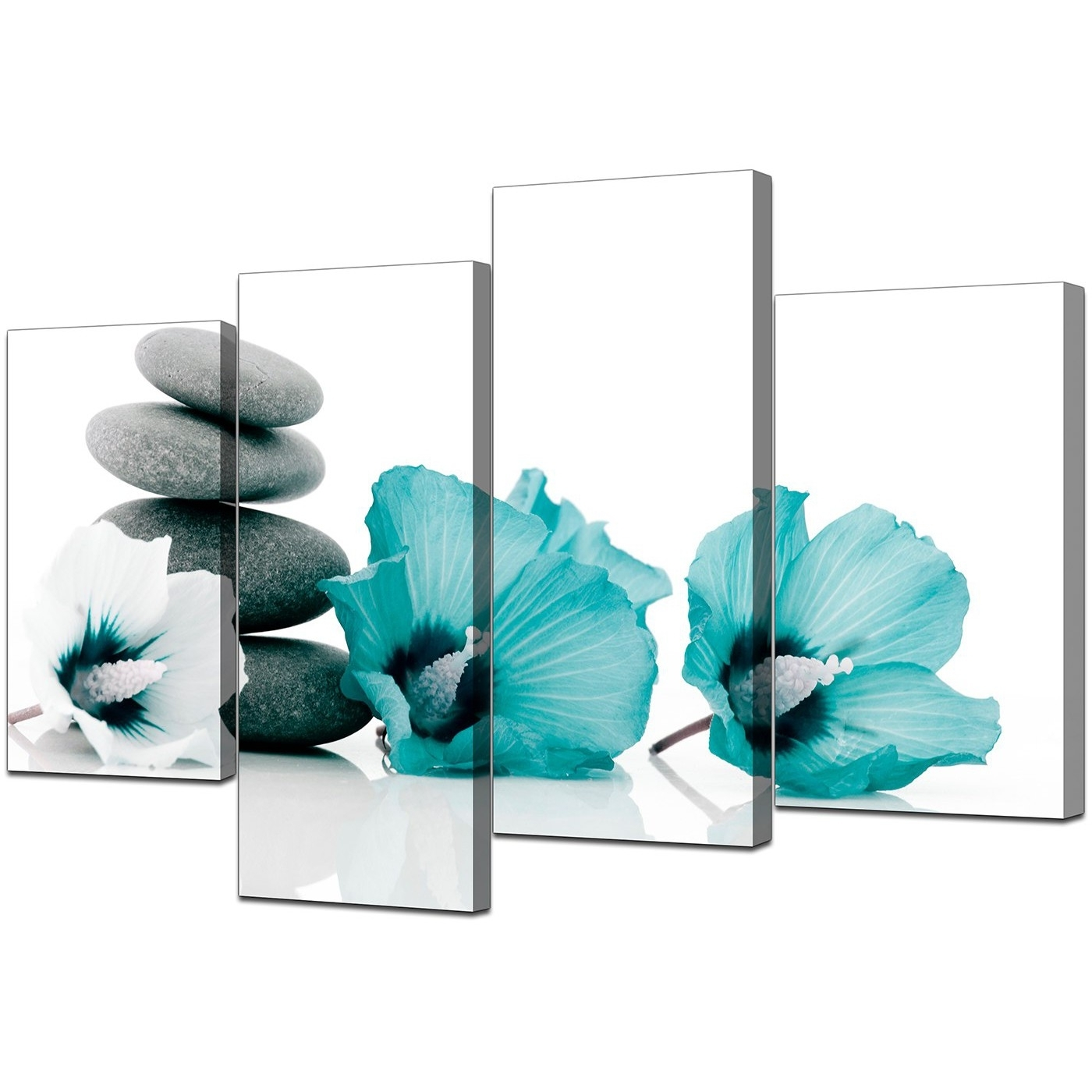 Canvas Wall Art Of Flowers In Teal For Your Living Room Regarding Best And Newest Teal Flower Canvas Wall Art (View 3 of 15)
