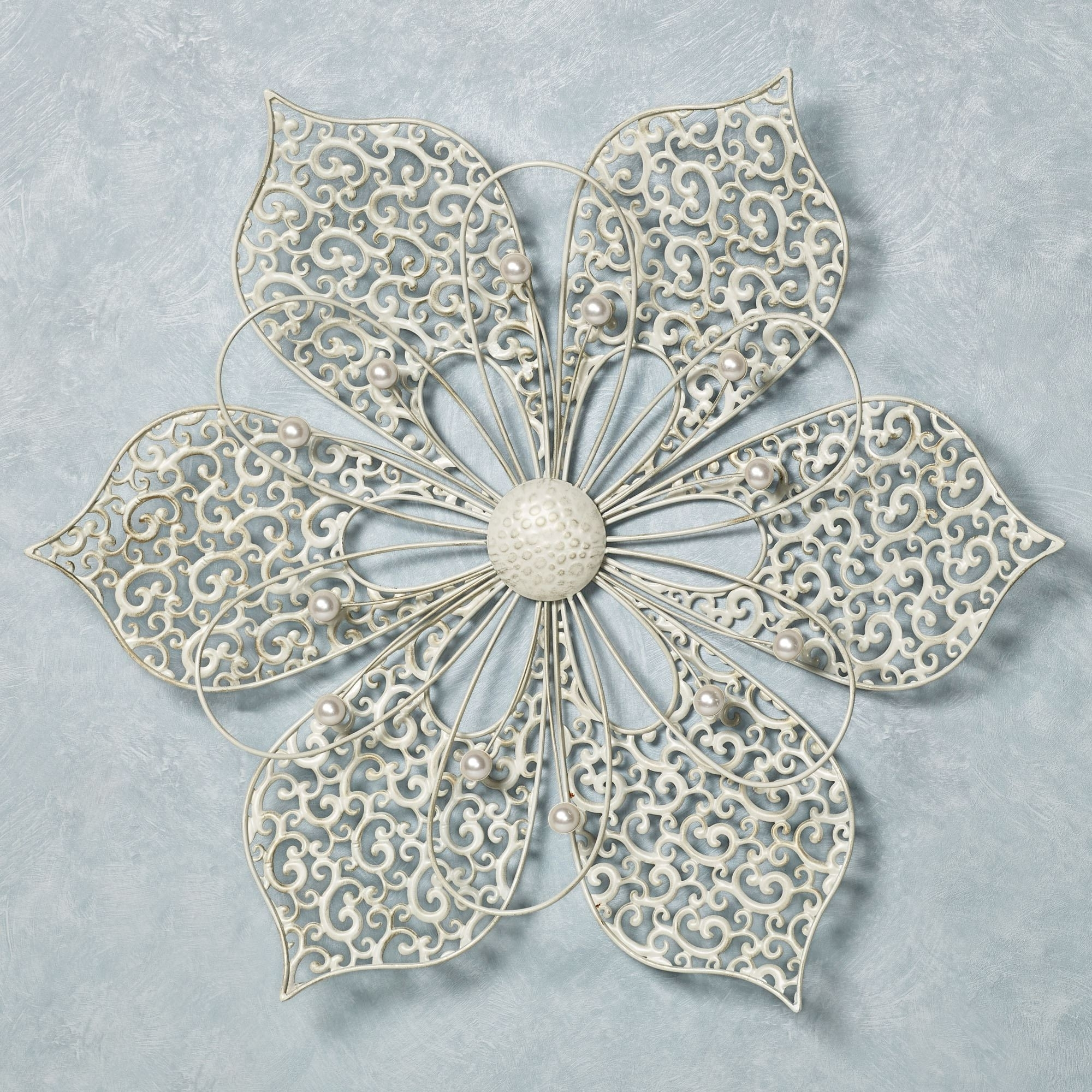 Capiz Wall Art Inside Most Recent Pretty Petals Ivory Flower Metal Wall Art (View 5 of 15)