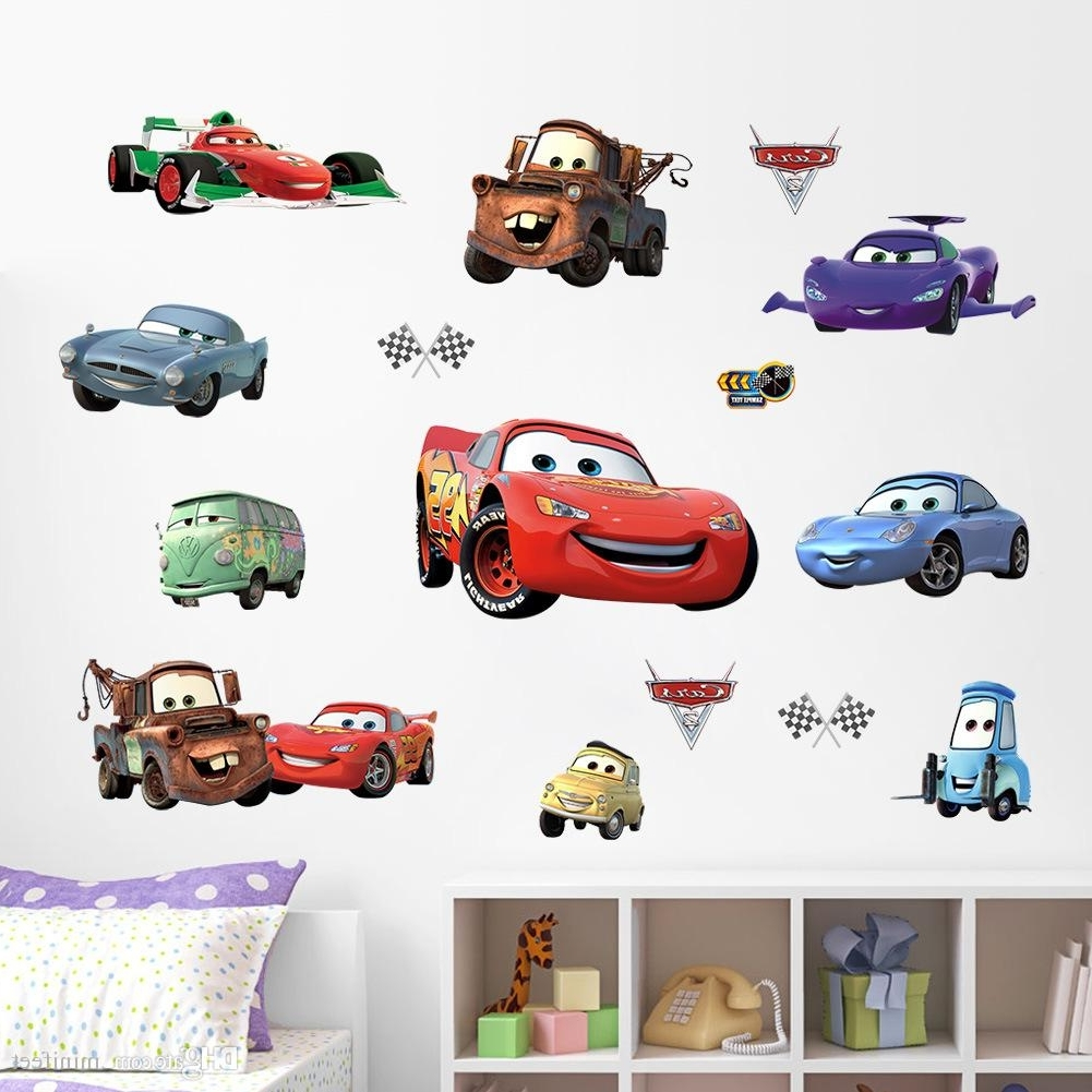 Cars 3D Wall Art For Most Current Mixed Order Cartoon Cars 3D Wall Stickers For Nursery Kid's Room (View 7 of 15)