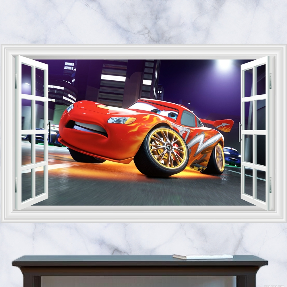 Cars 3D Wall Art For Most Popular 3D Cartoon Pixar Cars Art Posters Wall Stickers,pixar Cars Mater (View 6 of 15)