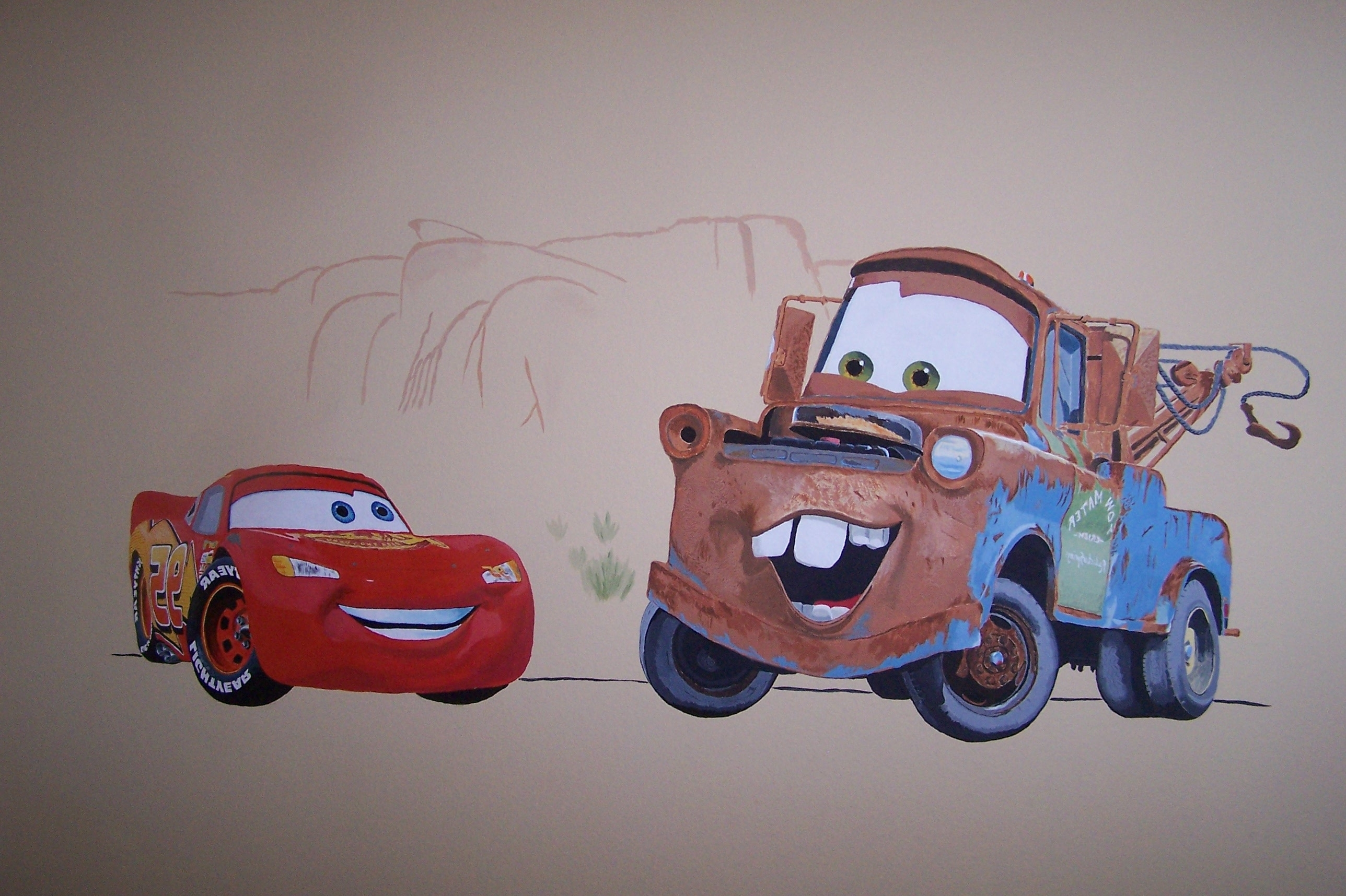 Cars Wall Mural – Drawn And Paintederic – With Lightning Pertaining To Most Recently Released Lightning Mcqueen Wall Art (View 10 of 15)