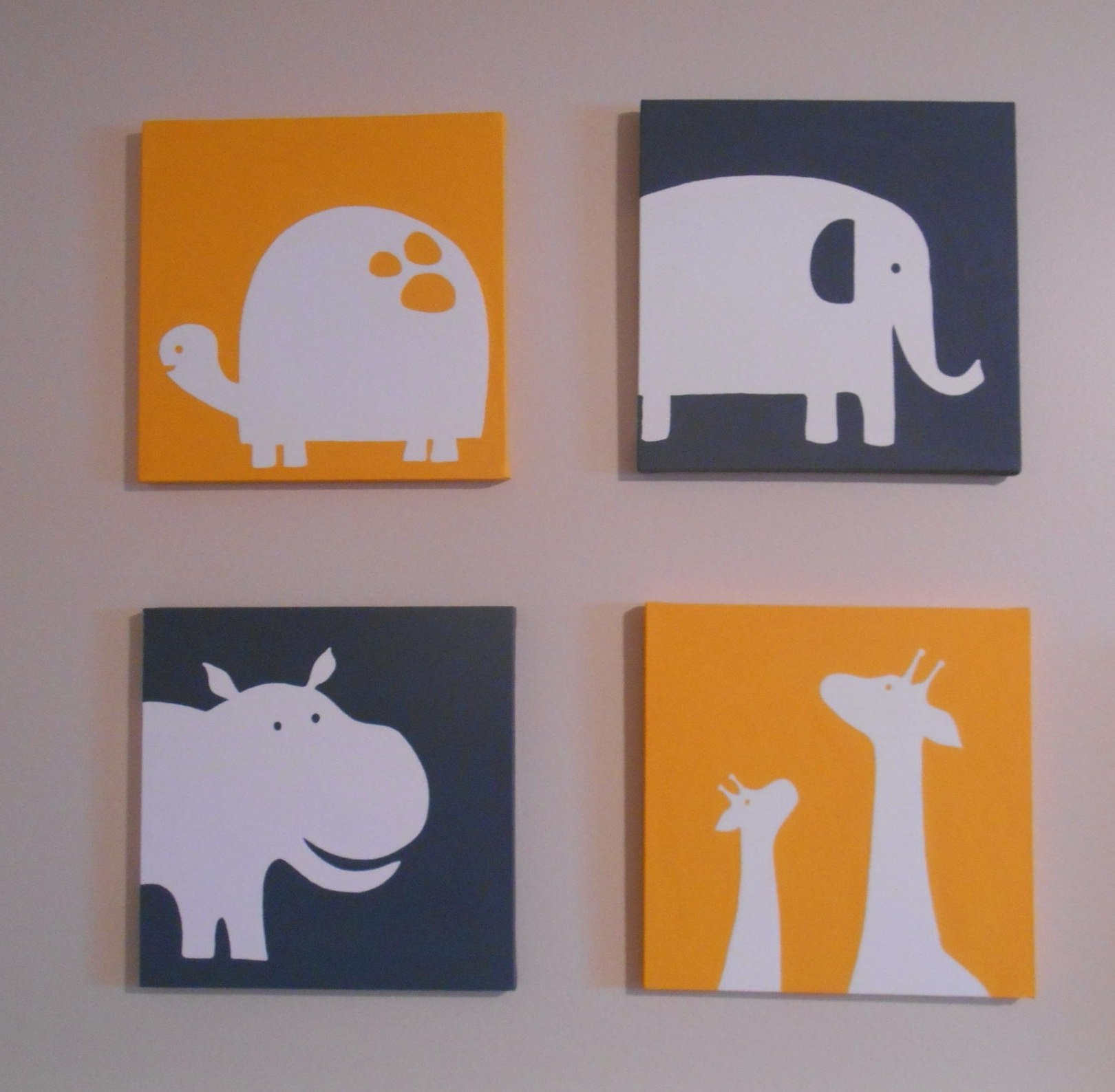 Carter's Inspired Zoo Animal Nursery Art Canvas Hand Painted 12 For Widely Used Nursery Canvas Art (View 4 of 15)
