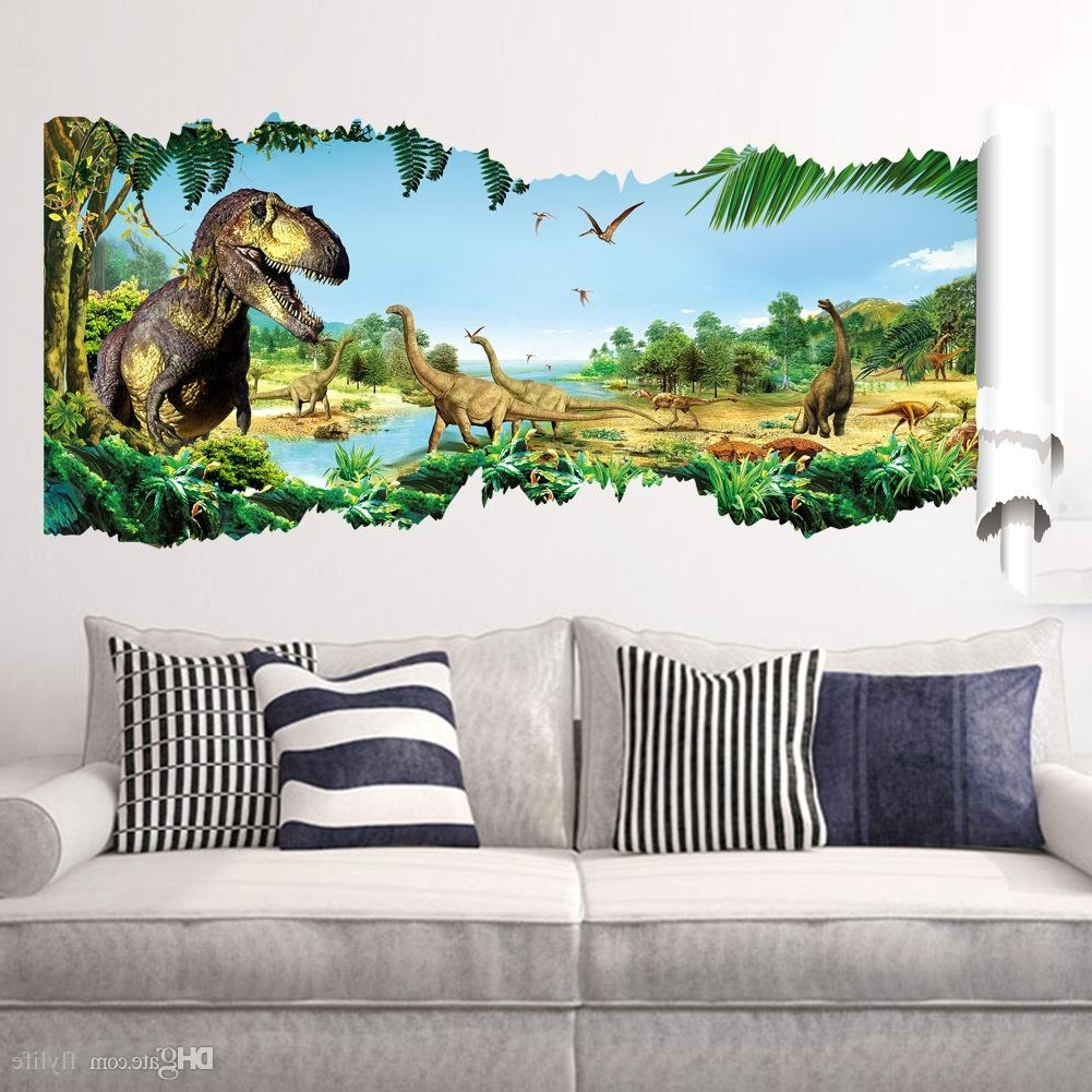 Cartoon 3D Dinosaur Wall Sticker For Boys Room Child Art Decor Inside Trendy Gold Coast 3D Wall Art (View 2 of 15)