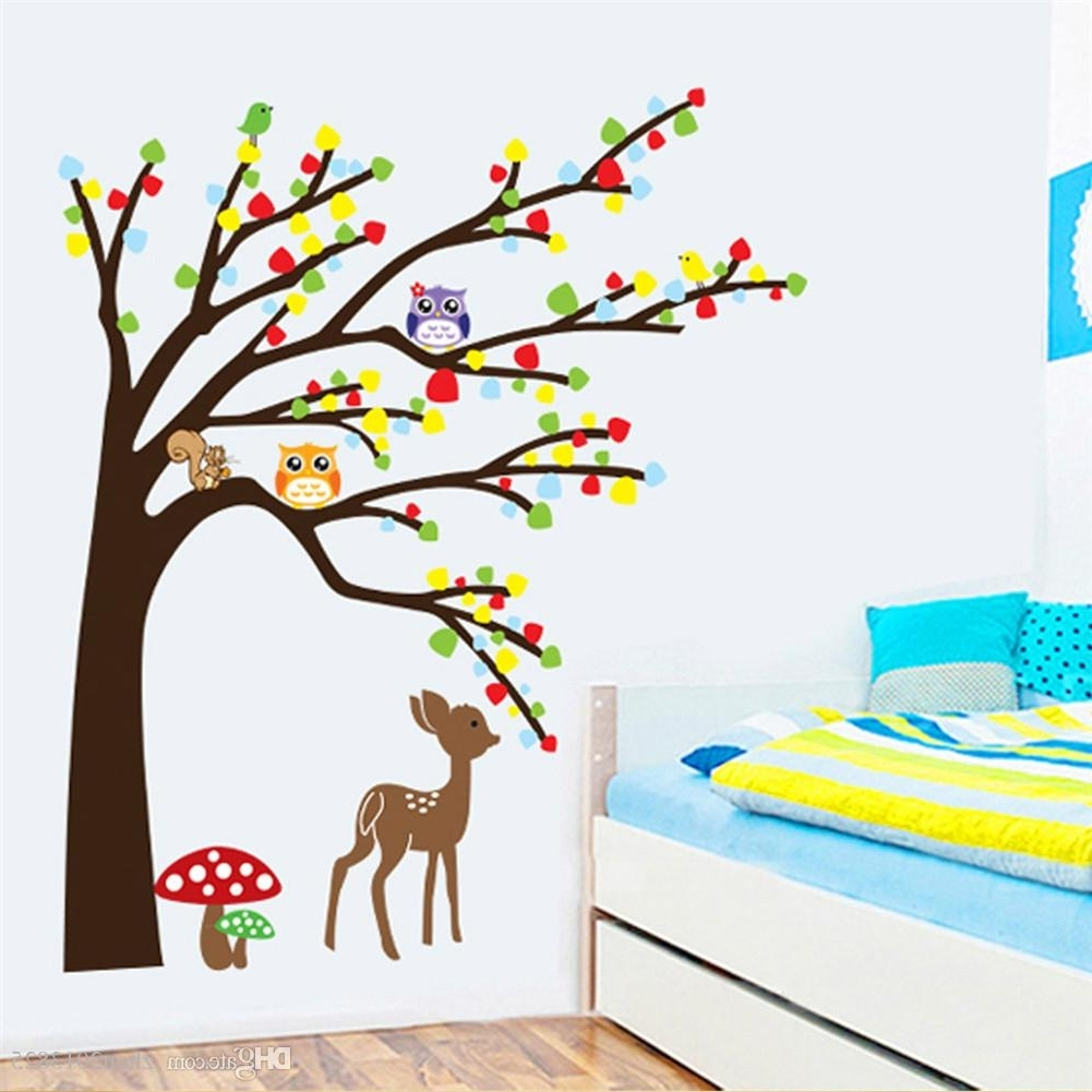 Cartoon Cute Animal Deer Owl Tree Mushroom Diy Wall Wallpaper With Regard To Most Up To Date Mushroom Wall Art (View 7 of 15)