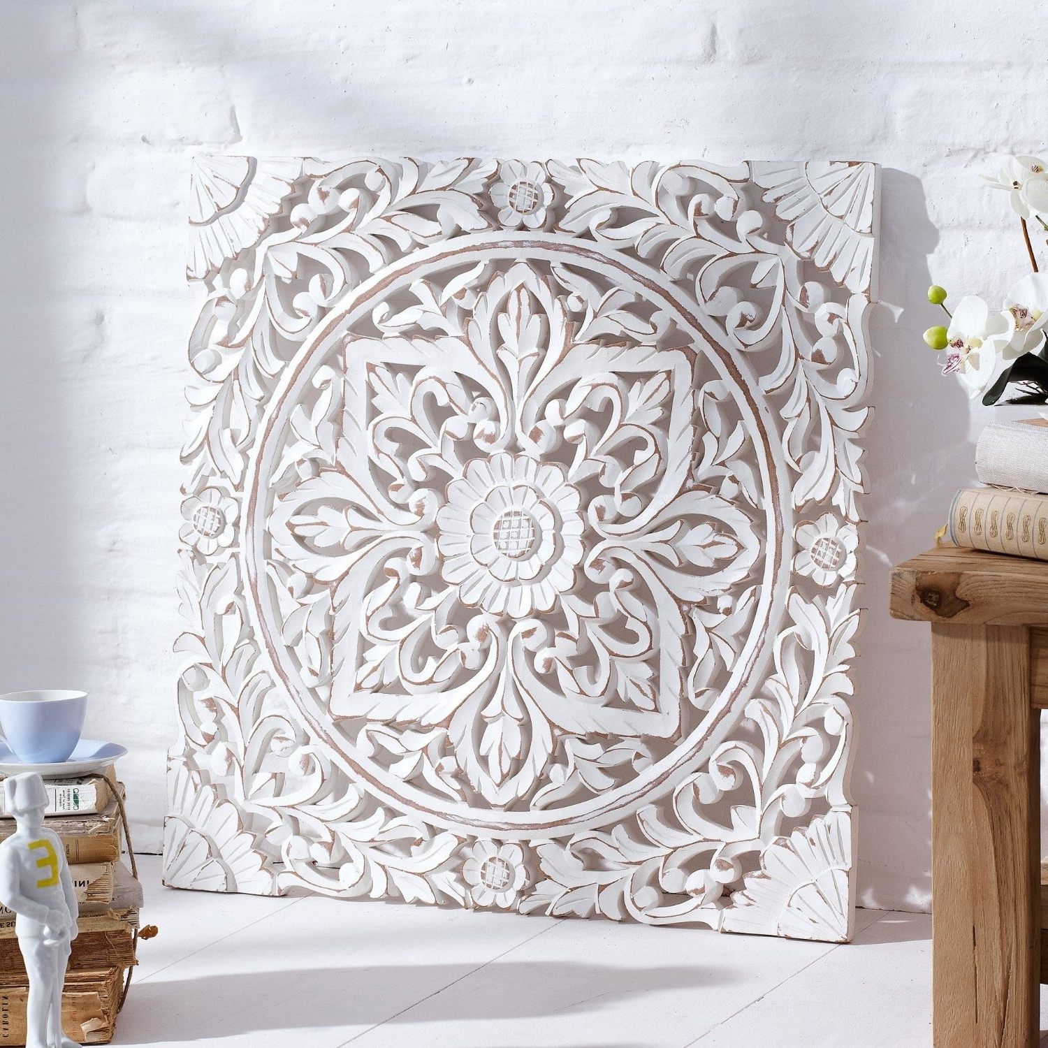 Carved Wooden Wall Panel, Distressed White: Amazon.co (View 4 of 15)