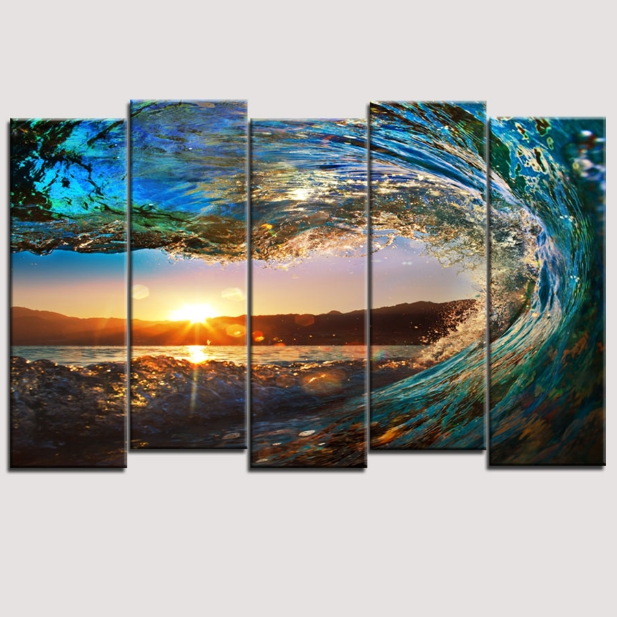 Cheap Wall Art Canvas Sets Intended For Newest Wall Art Designs: 5 Piece Wall Art Canvas Art Huge Wave Painting (View 3 of 15)