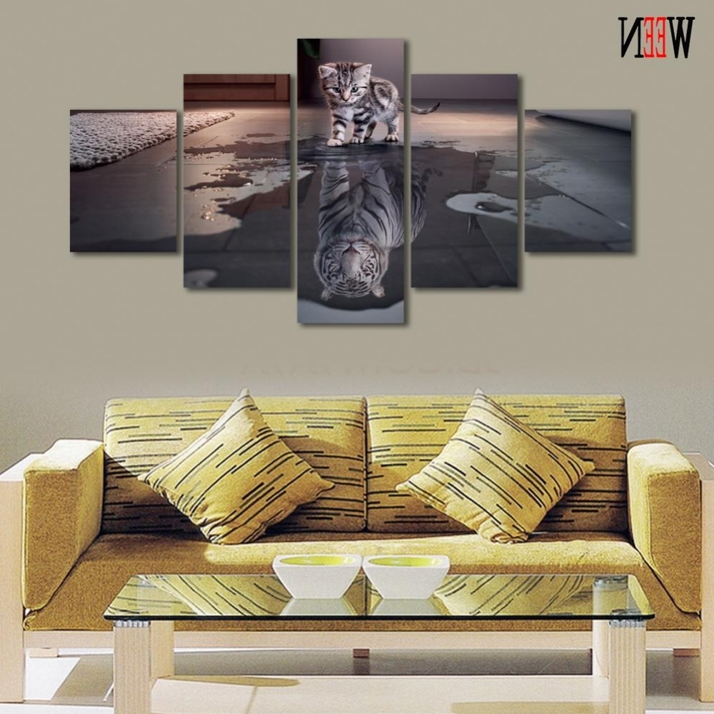 Cheap Wall Canvas Art For Most Up To Date 5 Piece Cat And Tiger Canvas Art Wall Pictures Hd Printed For (View 15 of 15)