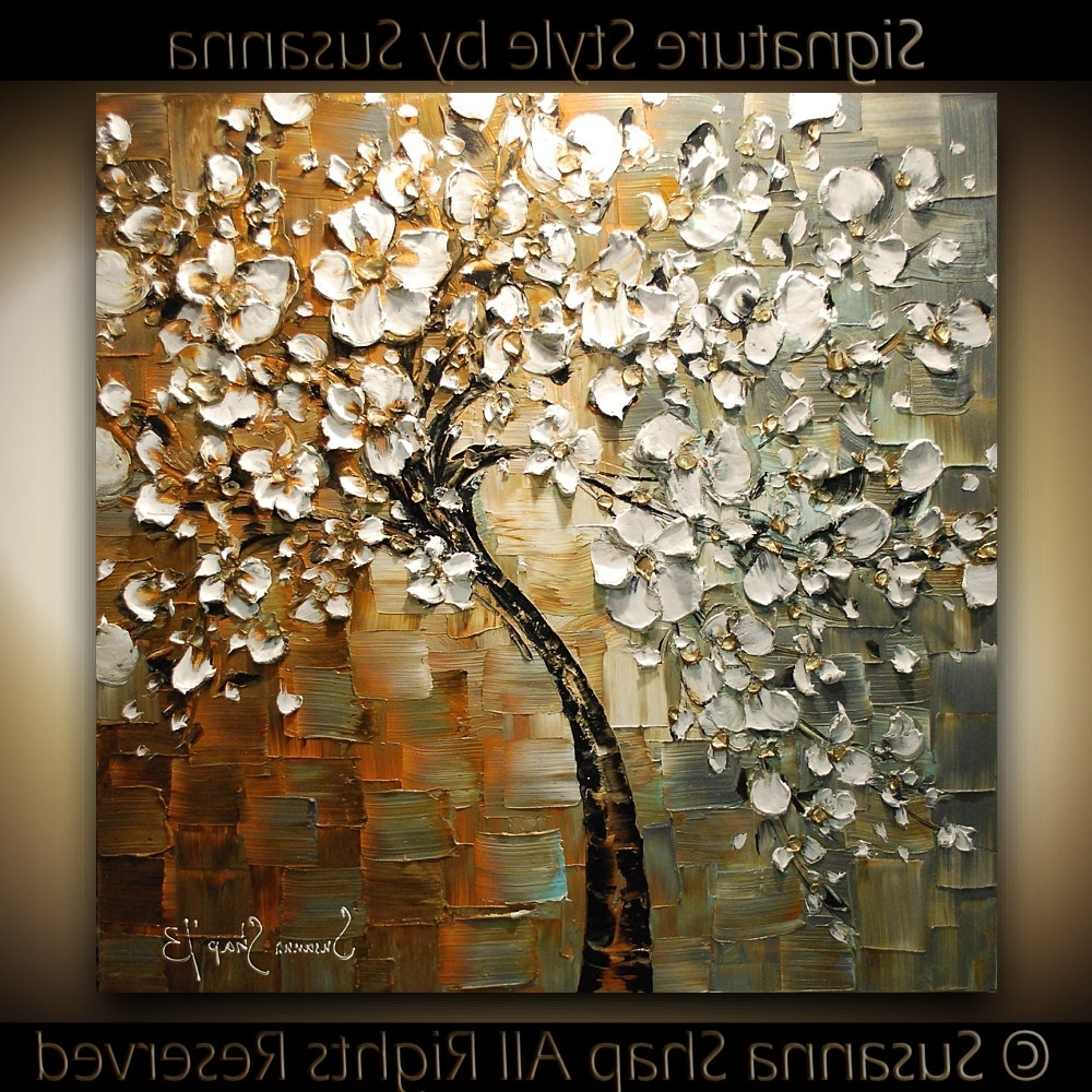 Cherry Blossom Oil Painting Modern Abstract Wall Art With Regard To Well Known Loving Her Paintings!!.original Large Tree Painting Abstract (Gallery 1 of 15)