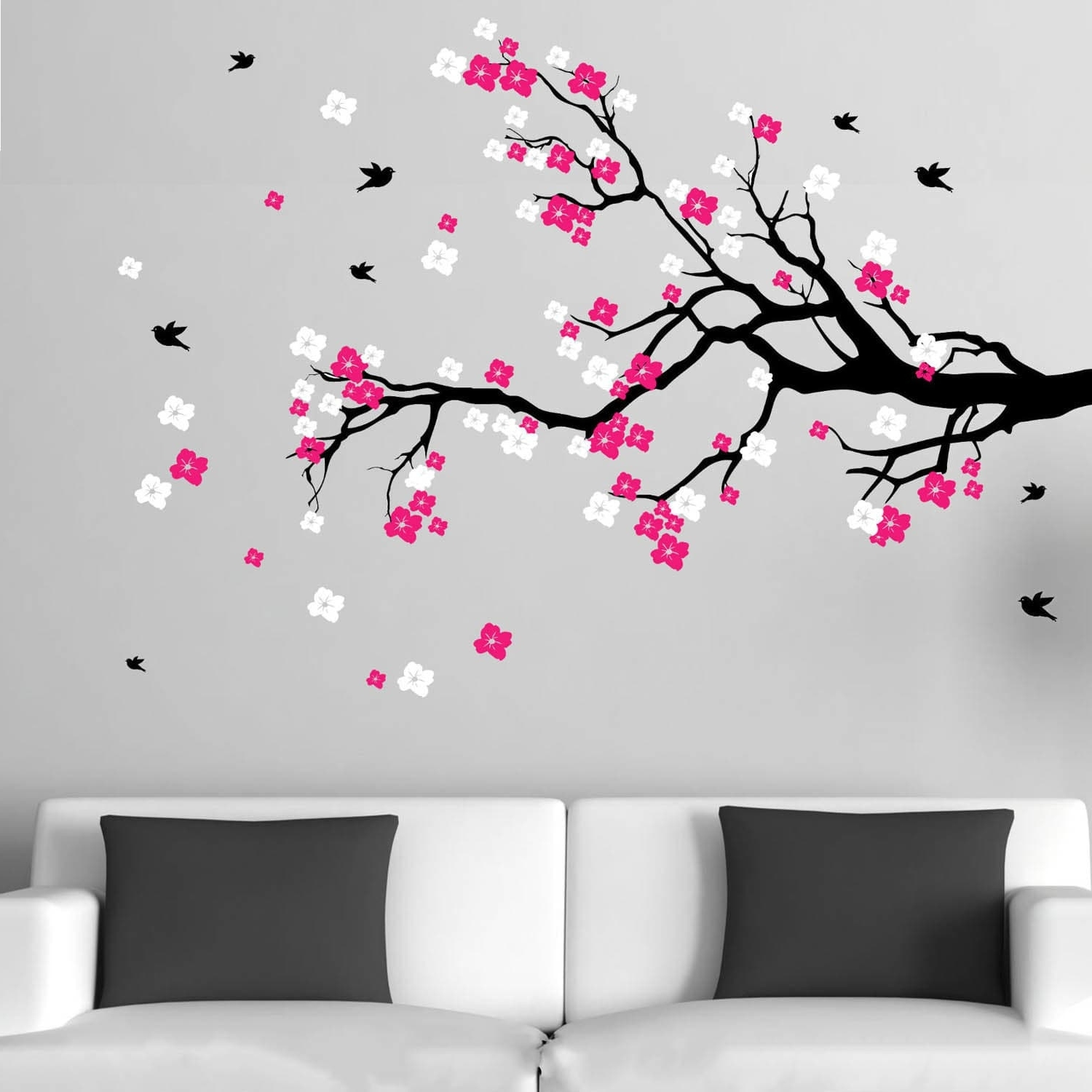 Cherry Blossom Vinyl Wall Art Regarding Most Popular Cherry Blossom Branch With Birds Vinyl Wall Art Decal – Free (View 6 of 15)