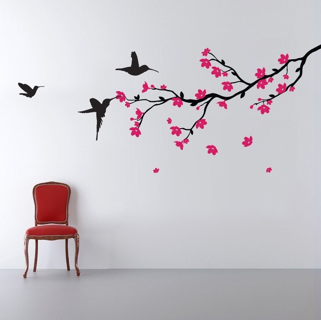 Cherry Blossom Vinyl Wall Art With Most Recent Branch With Blossom And Birds Wall Sticker (View 15 of 15)