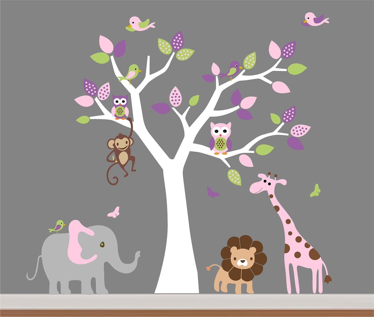 Children Wall Art In Trendy Baby Room Wall Decor Nursery Jungle Wall Decal Tree,monkey (View 3 of 15)