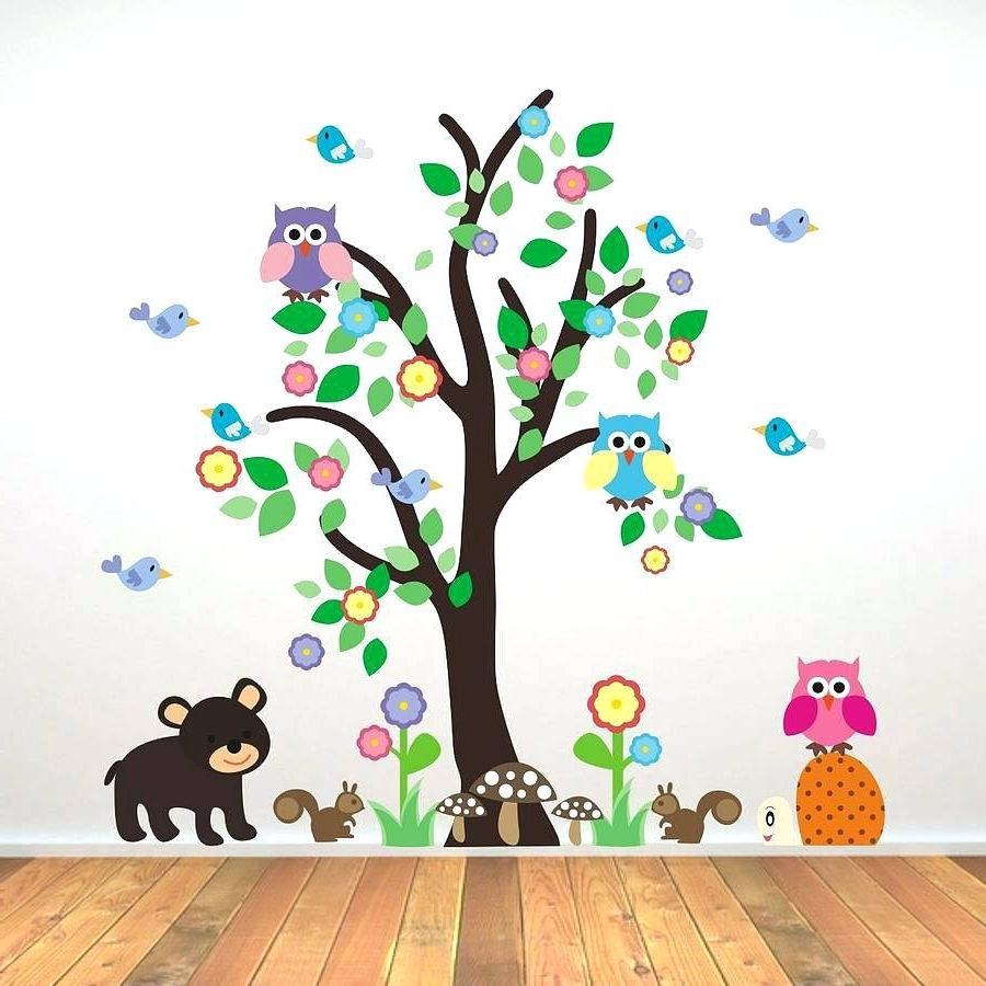 Children Wall Art Throughout Latest Animal Wall Decals For Kids Nursery Art Animals Wall Art Farm (View 10 of 15)