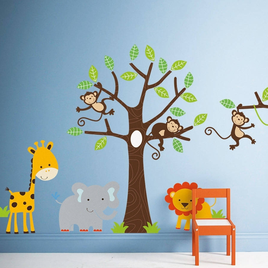 Children's Jungle Wall Stickersparkins Interiors Inside Most Up To Date Children Wall Art (View 7 of 15)
