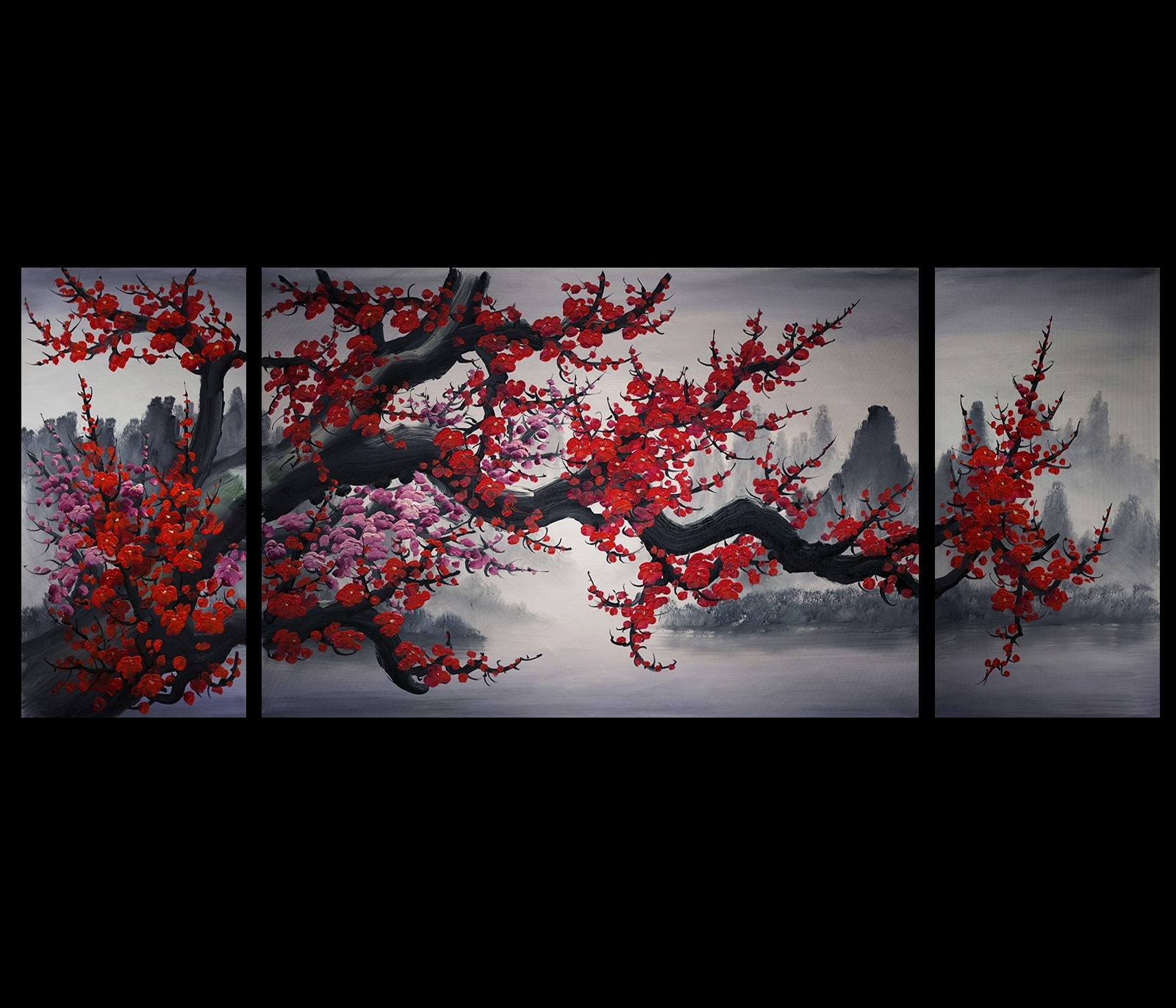 Chinese Cherry Blossom Painting Original Modern Wall Art Decor Within  Newest Asian Wall Art Panels (