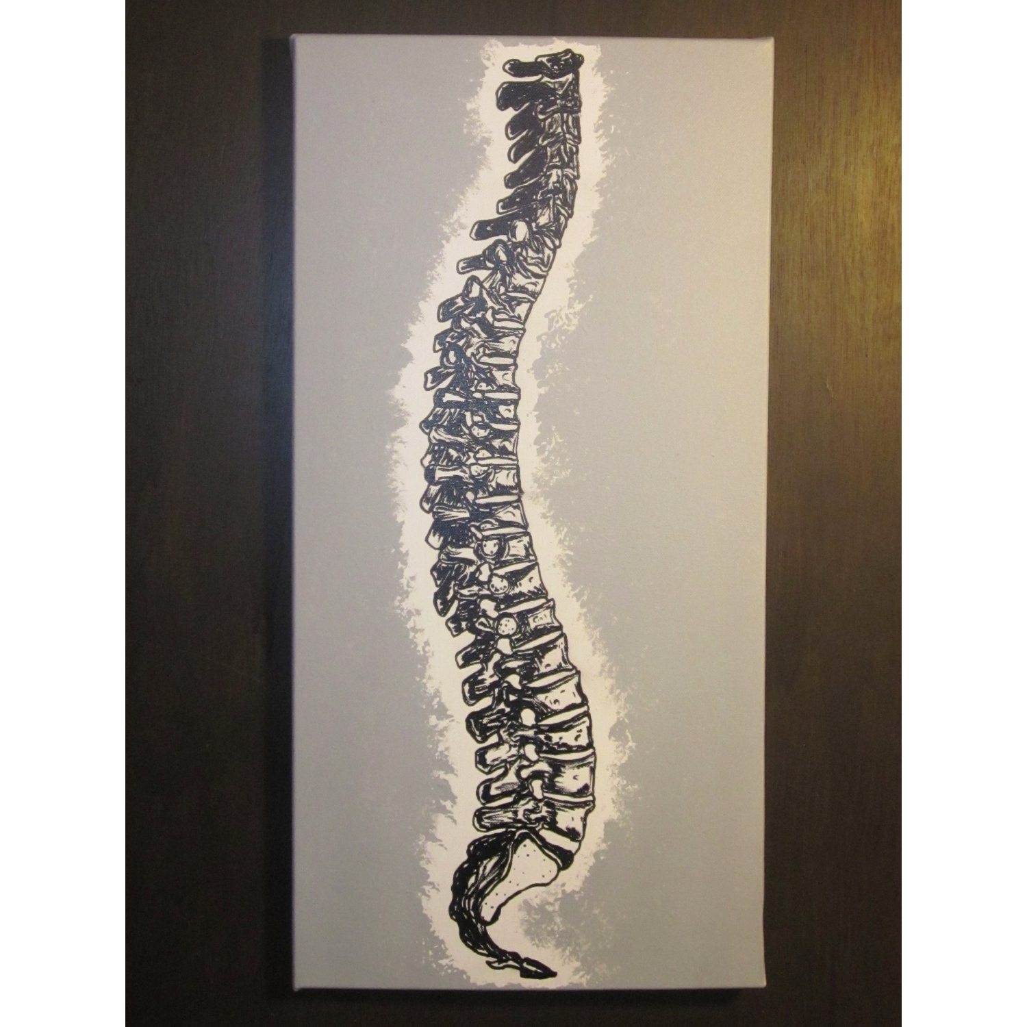 Chiropractic Wall Art With Most Recently Released Single Canvas Spine Painting: Single Color Background (View 2 of 15)