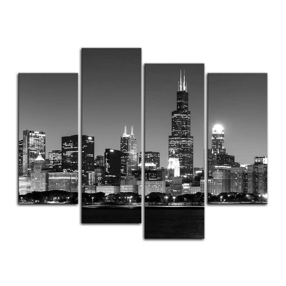 Cityscape Canvas Wall Art With Regard To Well Liked Amazon: 4 Pieces Modern Canvas Painting Wall Art The Picture (View 3 of 15)
