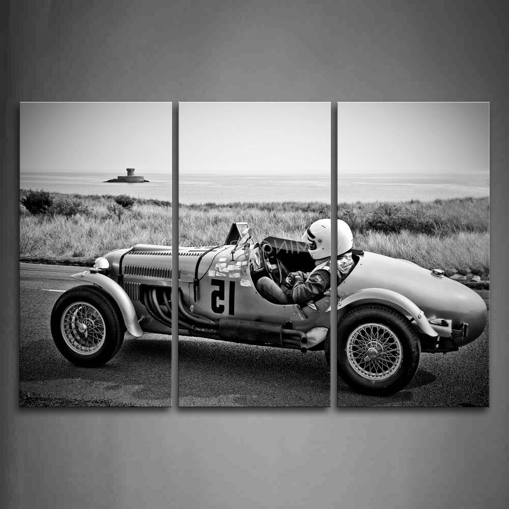 Classic Car Wall Art Intended For Recent 3 Piece Black And White Wall Art Painting Man Drive A Auto Racing (View 9 of 15)