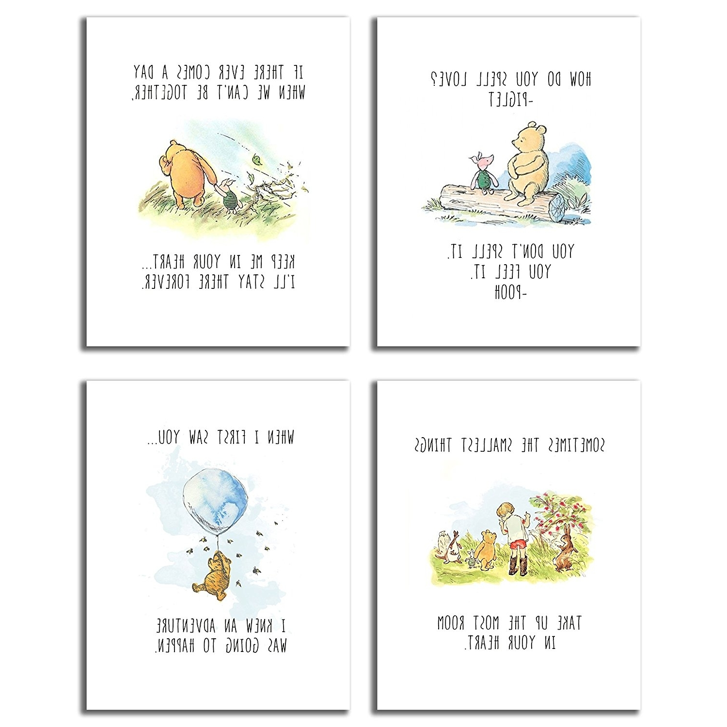 Classic Pooh Art With Regard To Most Popular Amazon: Winnie The Pooh Classic Art Prints – Set Of Four 8X (View 5 of 15)