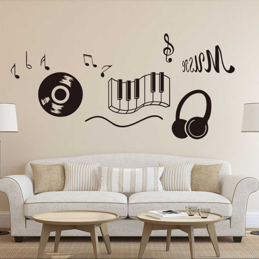 Classic Record Earphone Piano Keyboard Music Note Wall Art Mural Pertaining To Best And Newest Music Note Wall Art (View 2 of 15)
