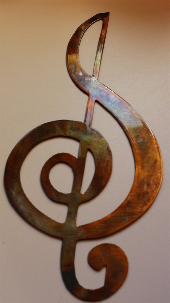 Clef Musical Note Metal Wall Art Inside Well Known Music Metal Wall Art (View 1 of 15)