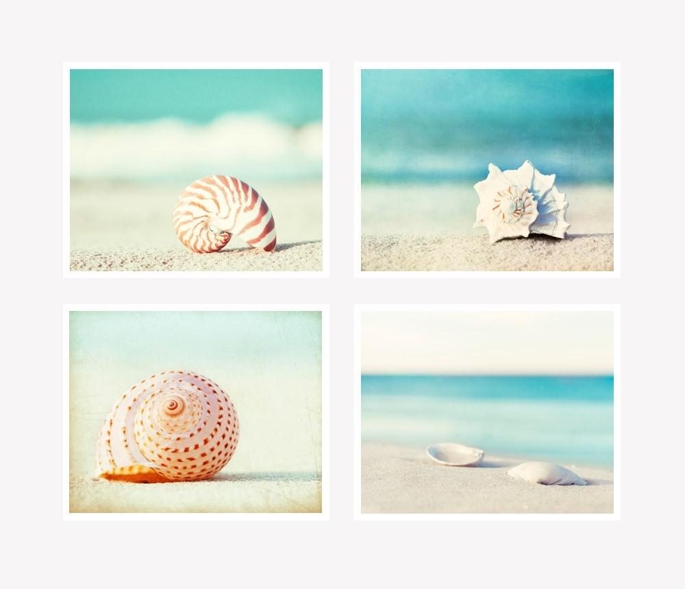 Coastal Wall Art Inside Popular Seashell Photography Set Of 4 Printscarolyn Cochrane (View 4 of 15)