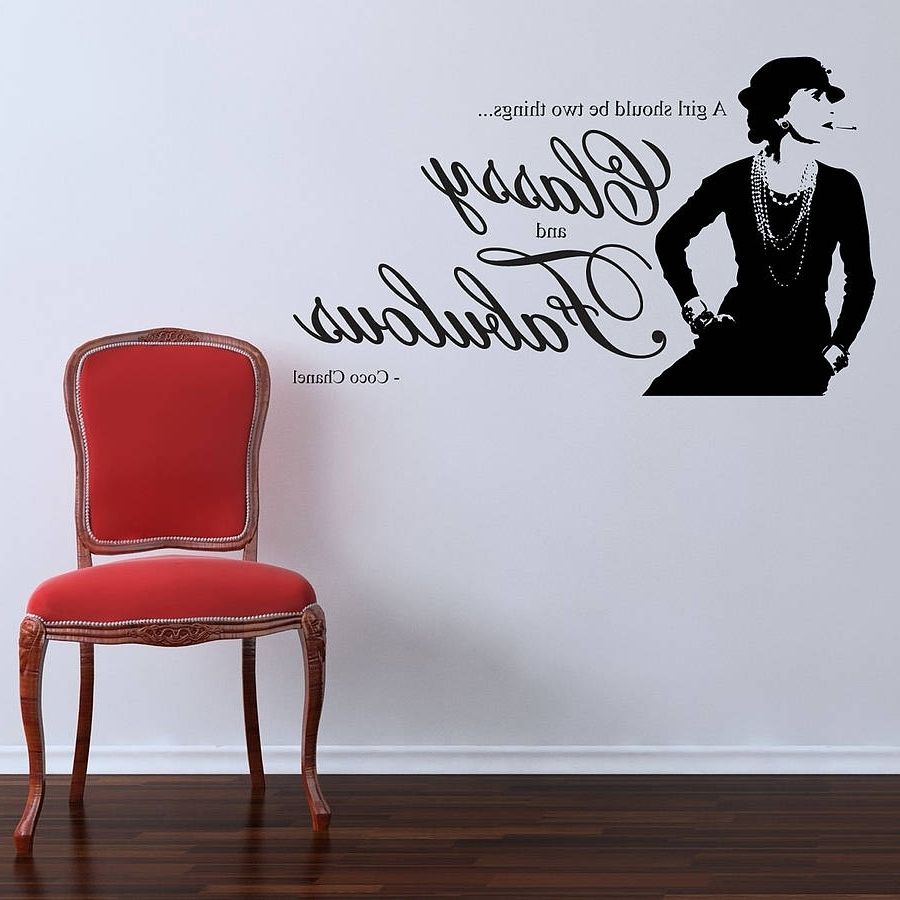 Coco Chanel Quote Wall Stickersparkins Interiors Intended For 2018 Love Coco 3D Vinyl Wall Art (View 3 of 15)
