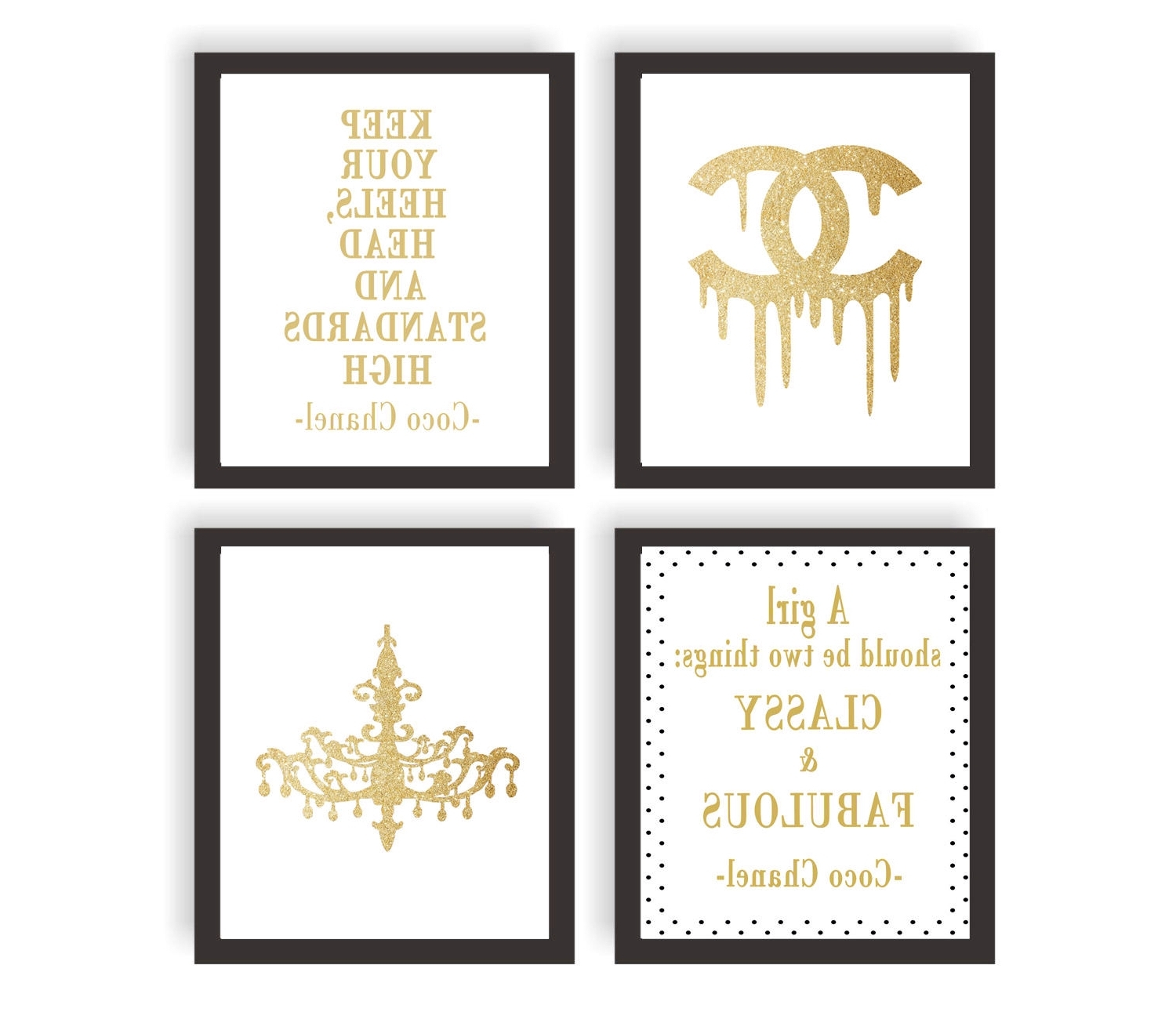 Coco Chanel Wall Art, Coco Chanel Gold Set Of 4 Prints, Coco With Regard To Famous Coco Chanel Quotes Framed Wall Art (View 2 of 15)