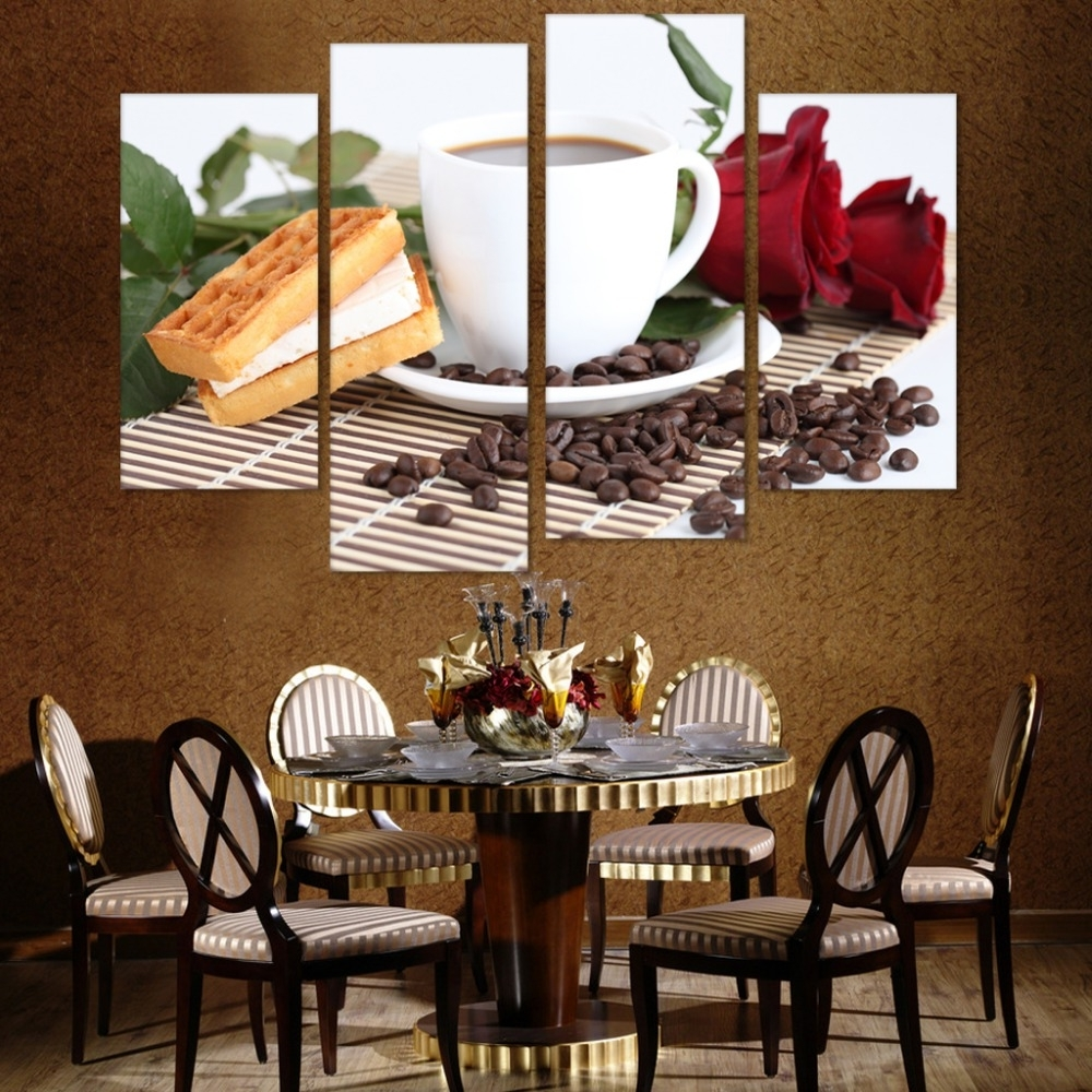 Coffee Bistro Wall Art Regarding 2017 Canvas Print Painting Poster Cafe Styles Coffee Beans 4 Panels (View 5 of 15)