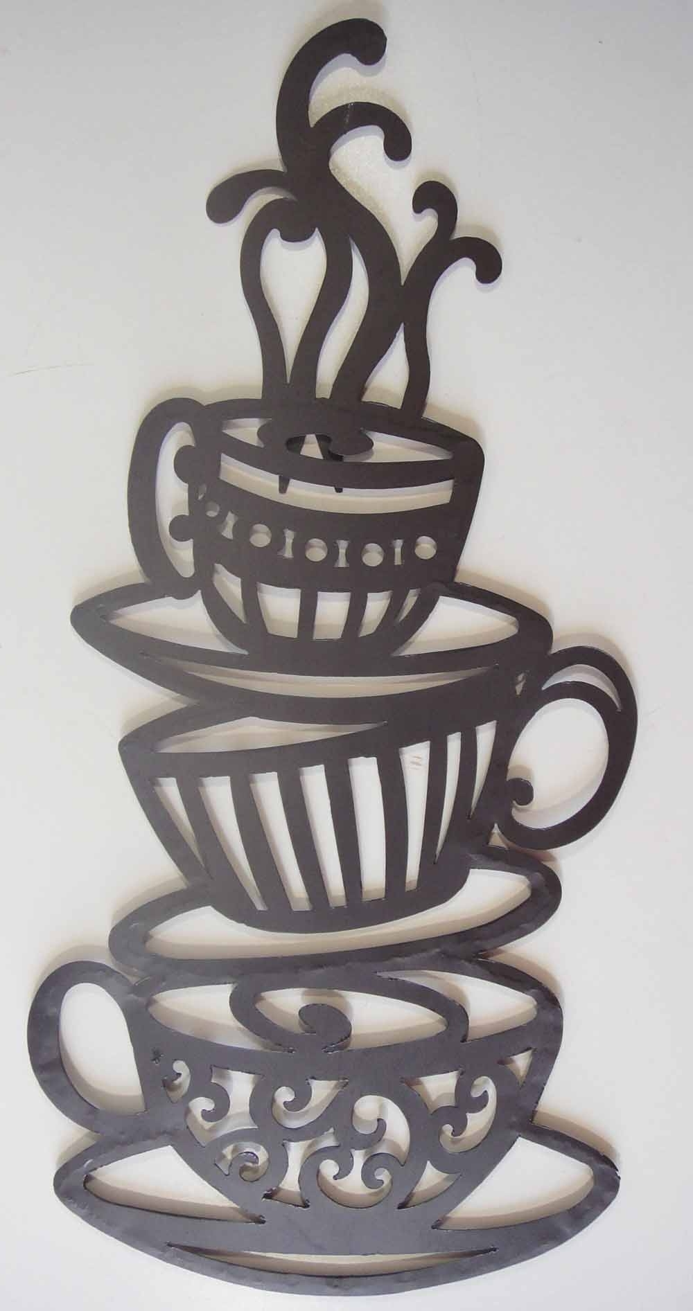 Coffee Theme Metal Wall Art With Regard To Trendy Sweet Design Coffee Metal Wall Art Themed Pot Cups Decor Cup (View 5 of 15)