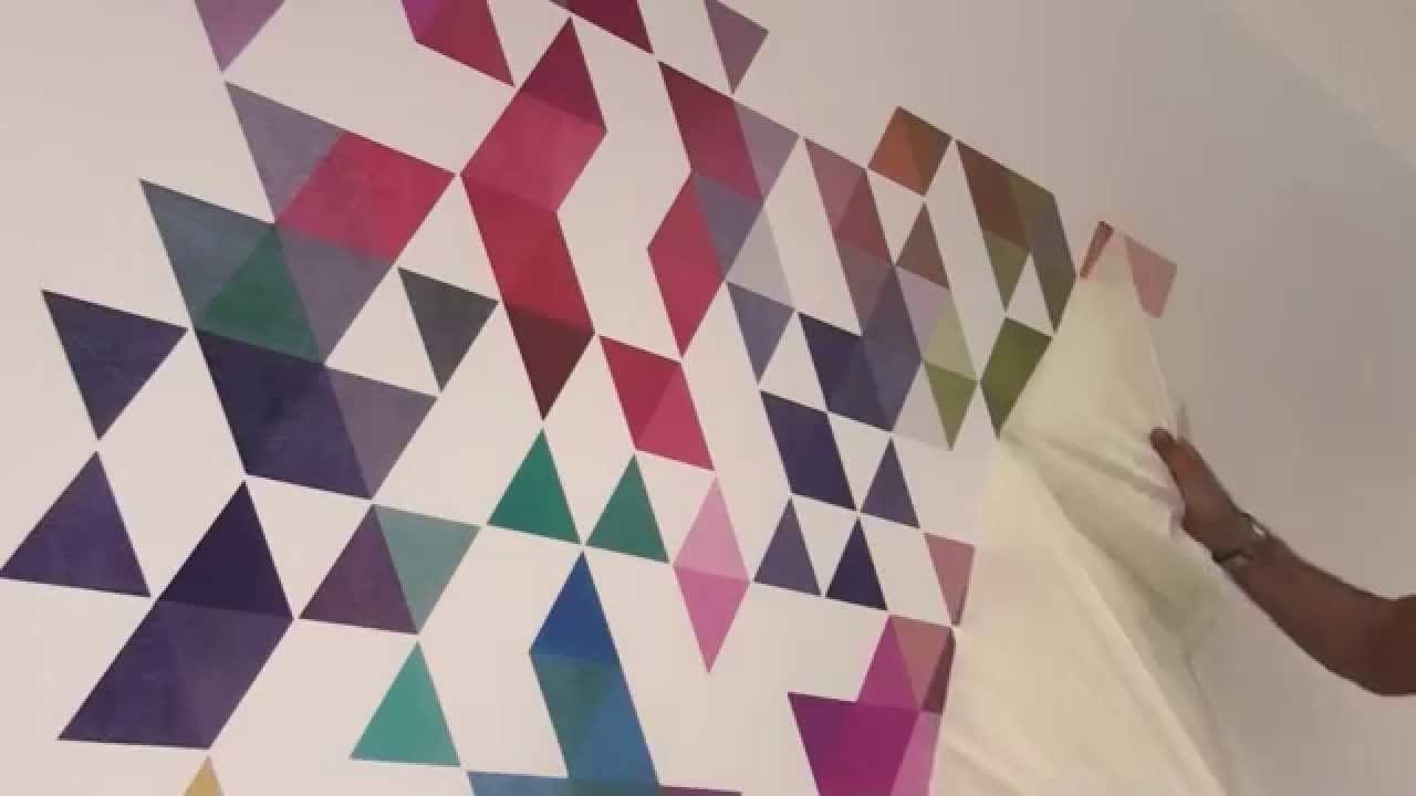 Colored Triangles Wall Decal – How To Apply – Youtube With Regard To Favorite 3D Triangle Wall Art (View 3 of 15)