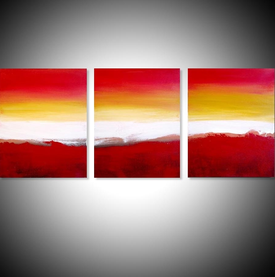 "Colour Slats"" Abstract Artists Triptych Art On Canvas Intended For Most Current Triptych Art For Sale (View 1 of 15)"