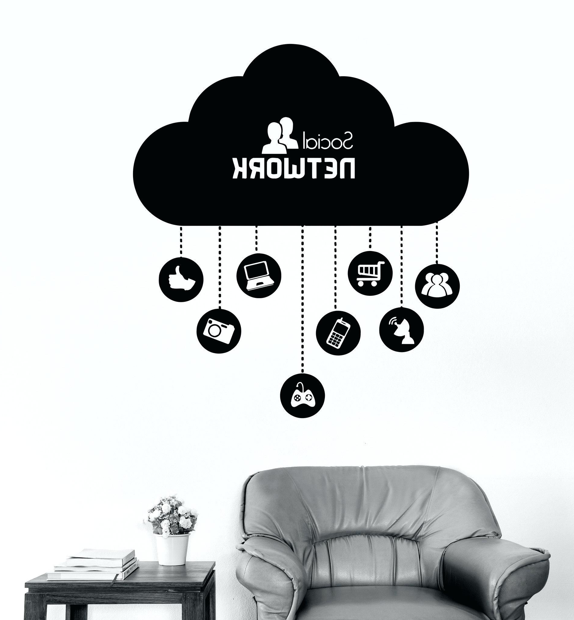 Computer Wall Art With Most Up To Date What Is Wall Decal Vinyl Wall Decal Cloud Social Network Computer (View 10 of 15)