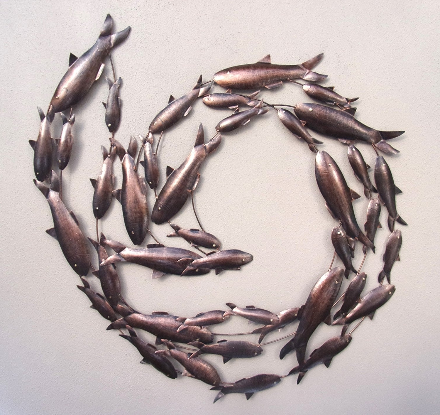 Contemporary Copper Fish Shoal 3D Metal Wall Art – Hand Made Intended For Famous Shoal Of Fish Metal Wall Art (View 2 of 15)