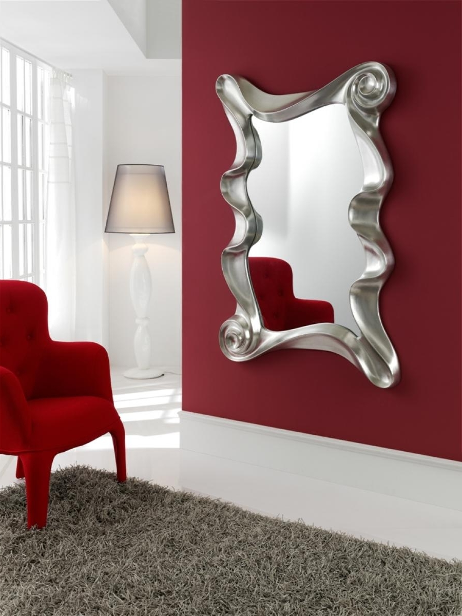 Contemporary Mirror In White Or Silver Finish Best Large Designer Inside Most Recent Wall Art Mirrors Contemporary (View 12 of 15)
