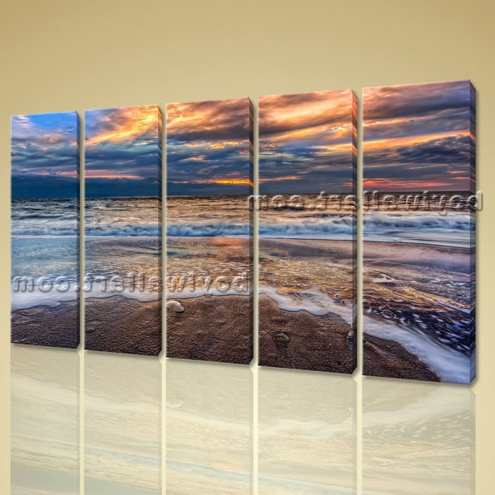 Contemporary Wall Art On Canvas Hd Print Seascape Beach Sunrise Scene Throughout Fashionable Large Contemporary Wall Art (View 2 of 15)