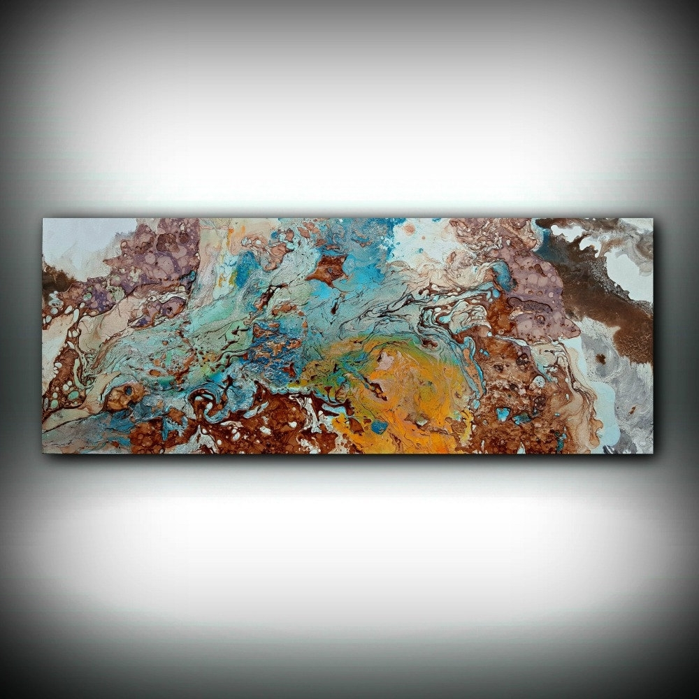 Copper Painting Coastal 16 X 40, Acrylic Painting On Canvas In 2017 Abstract Copper Wall Art (View 7 of 15)
