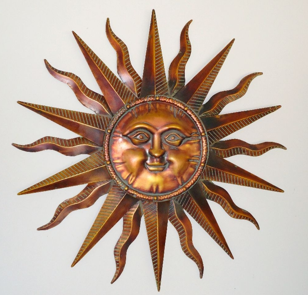 Copper Patina Sun Face Extra Large Sunburst Metal Wall Art Hanging In Most  Recent Large Metal