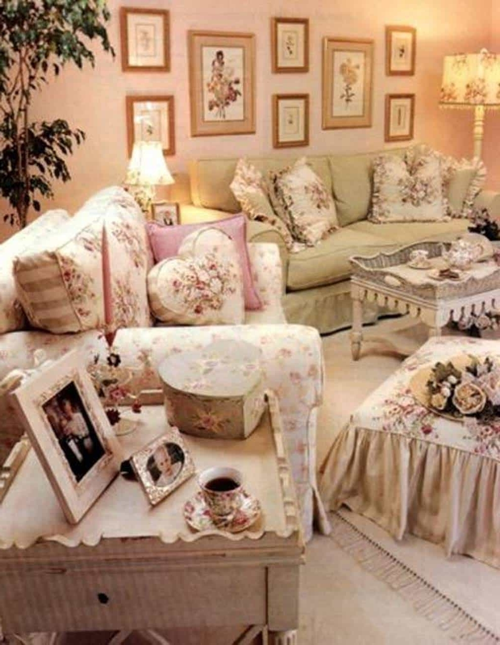 Country Style Wall Art Pertaining To Current Country Shabby Chic Style Living Room With Wall Art And Pillows (View 7 of 15)