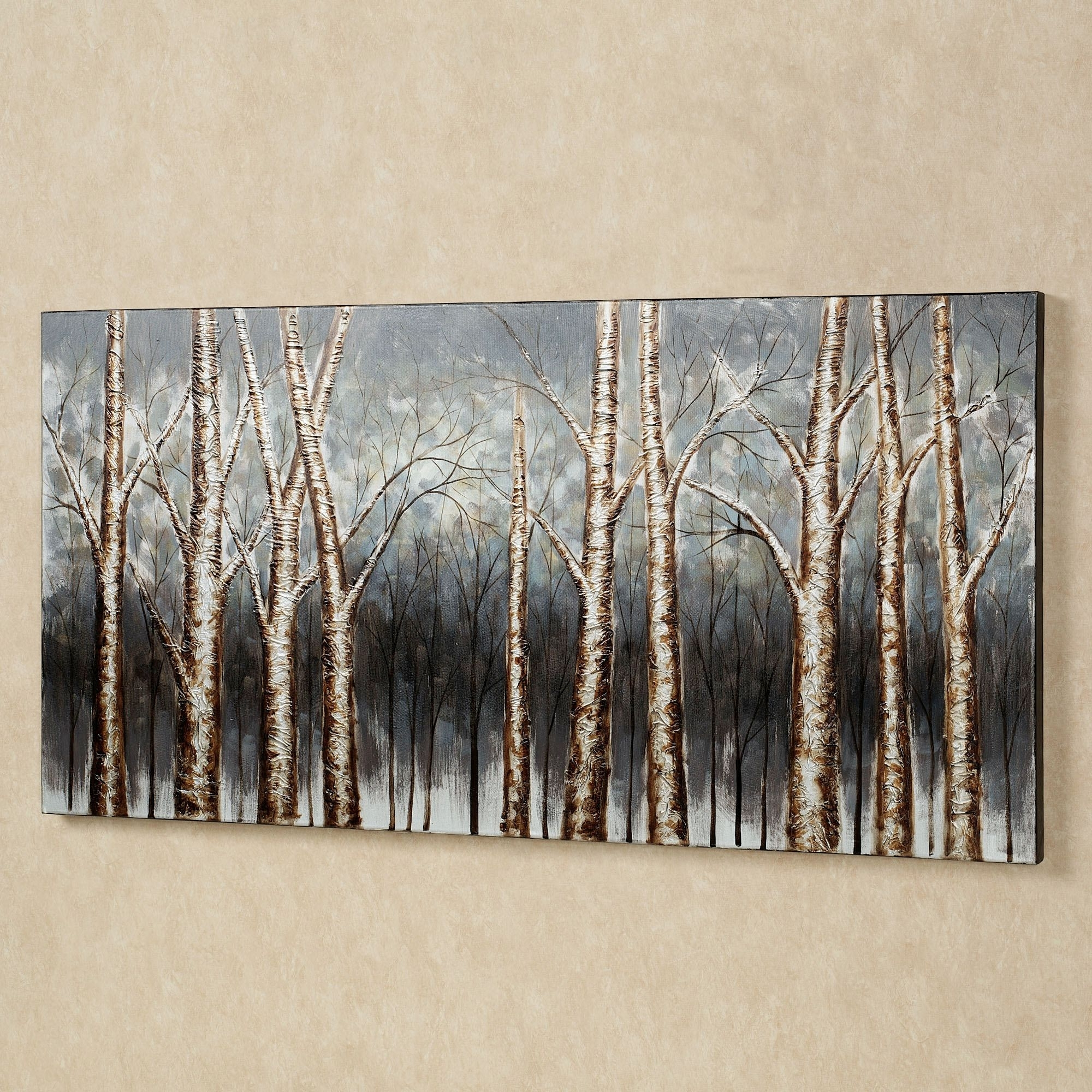 Cream Metal Wall Art For Popular Wall Art Decor: Cream Wallpaper Aspen Trees Wall Art Sample (View 4 of 15)